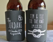 Personalized Tie the Knot Wedding Can Coolers, Bridal Event Favors, Custom Beverage Insulators, Beer Huggers
