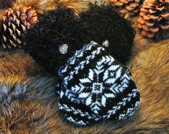 Black & White Fair Isle Fur Cuffed Women's Recycled Sweater Mittens