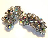 Vintage Costume Jewelry Unsigned Gray Aurora Borealis Beaded Clip On Earrings