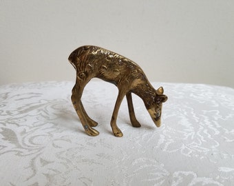 Vintage Brass Deer Spotted Doe Statue Figurine, Woodlands Naturalist Hunter Paperweight