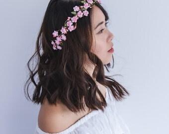 wedding flower crown / dainty pink rose floral hair wreath headband, halo, bridal, wedding, festival, party, summer, spring.
