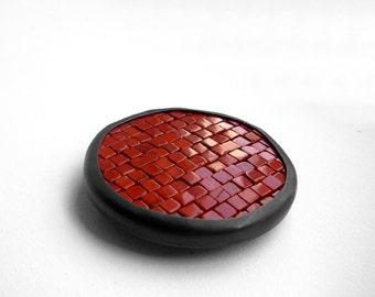 Mosaic Brooch - Red Dot Brooch - Mosaic Pin - Red Jasper Silver Brooch - Large Mosaic Brooch - Round Pin - mosaic jewelry - Ready To Ship