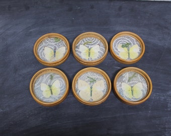 Set of 6 Bamboo and Butterflies Drink Coasters