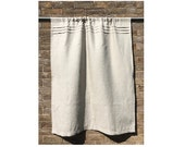 Small Linen Curtain, Beige Flax Cafe Curtain, French Window Curtain, Primitive Rustic Kitchen, Privacy Bathroom Shade
