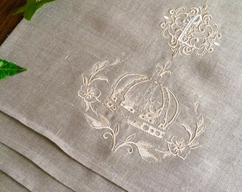 Monogram Linen Table Runner Crown Wreath Custom Embroidery Buffet Cloth 50 inches long