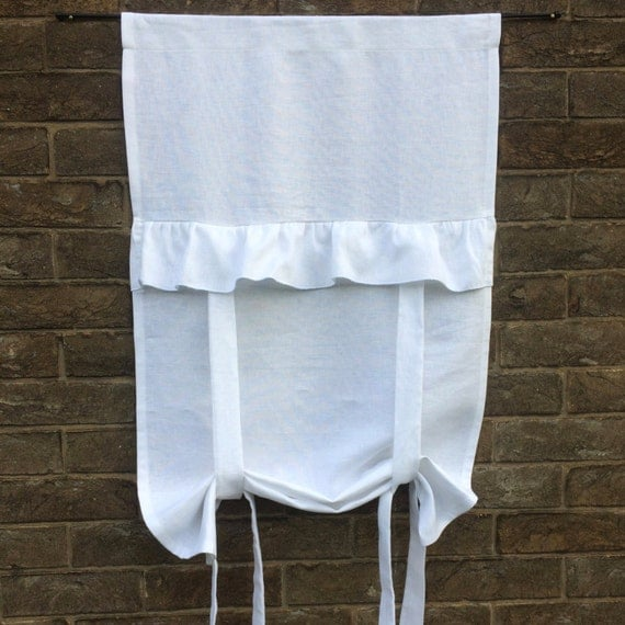 Linen Tie up Curtain White 100% Flax Linen Ruffle Curtain