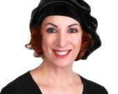 Beret, Chemo Hat, French Beret, Black Velvet Beret, Large Beret, Slouchy Hat, Soft Hat, Boho 702-08