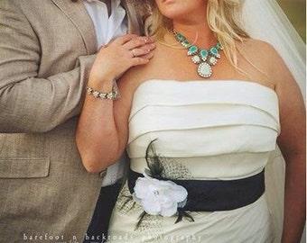 Black and White Bridal Sash, Ivory and Black Black Bridal Sash, Wedding Sash, Bridal Accessories, Handmade Flower Lace Bridal Sash - SADIE