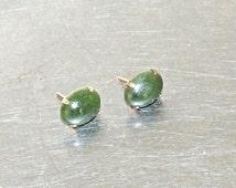 vintage jade earrings - 1940s-50s spinach jade studs