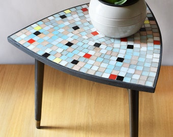 Vintage Tripod Side Table Mosaic Top 50s
