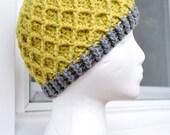 Crochet Lattice Hat - Lemongrass and Grey