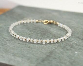 Rainbow Moonstone Bracelet, Gold Filled Beads, Moonstone Jewelry, Beaded Bracelet, Layering Bracelet, Gemstone Bracelet