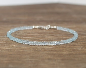 Aquamarine Bracelet, Aquamarine Jewelry, Something Blue, March Birthstone, Gemstone Bracelet