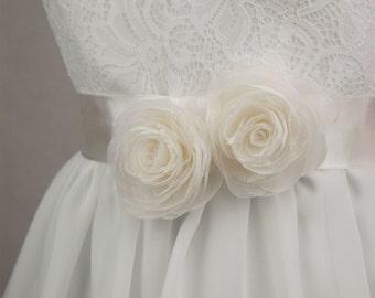 Bridal sash - Floral sash - Wedding sash - Wedding belt - Bridal belt sash - Bridal dress sash
