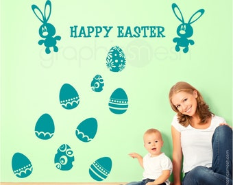 Wall decals HAPPY EASTER Bunny & Holiday Eggs set - Removable art stickers graphics by GraphicsMesh