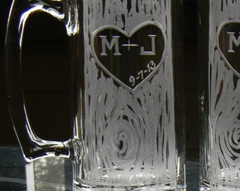 One SIngle Personalized Hand Engraved 25oz Beer Mug with Carved Tree Heart and Initials