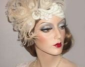IVORY PEACOCK & PEARLS- Great Gatsby Peacock Feather Headband, Art Deco Headpiece, 20s Wedding Headband, Ivory, Blush, Nude Gatsby Headband
