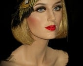 BLACK & GOLD Embroidered Peacock Headband, Great Gatsby Peacock Headband, 20s Flapper Headband, Gatsby Flapper Headpiece, Art Deco Headpiece