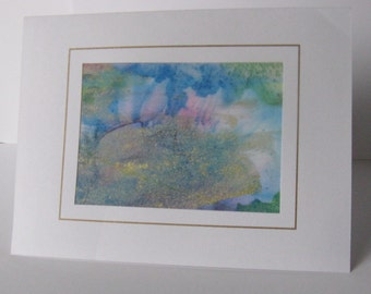 Hand painted silk card blue aqua green pink gold  abstract design