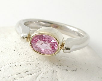 Pink Sapphire Ring, Two-Tone 14kt White Yellow Gold, September Birthstone Ring, Bezel, Baby Pink Sapphire Engagement, Gift for Her, Everyday