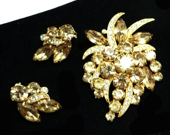 Eisenberg Ice Demi Brooch & Earring Set - Champagne Rhinestones on Goldtone Settings - Clip on Earrings - Floral Brooch - Vintage Designer