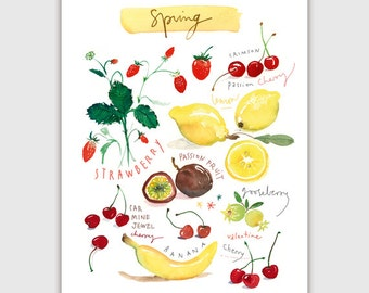 Spring fruits, Seasonal fruit print, Watercolor fruit poster, Kitchen art, Home decor, Fruit painting, Food print, Colorful wall art, Garden