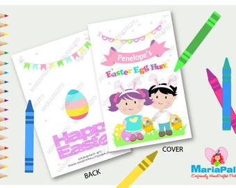 Easter Coloring Books Egg Hunt Party Personalized Fifties Favor