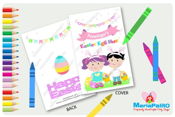 Easter Coloring Books Easter Egg Hunt Party Personalized Coloring Books Fifties Party Favor