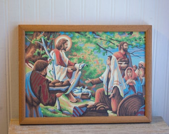Vintage Paint By Number , Jesus Painting, Sermon on The Mount, Vintage PBN, Jesus Feeds 5000, Jesus with Fish, Framed PBN, Religious Art