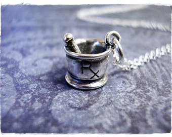 Silver Rx Mortar and Pestle Necklace - Sterling Silver Rx Mortar and Pestle Charm on a Delicate Sterling Silver Cable Chain or Charm Only