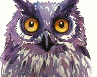 """Art Original Watercolor Animals Pets  """"OWL"""""""