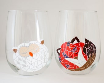 Sleeping Floral Fox and Snow Owl - Mosaic- Hand Painted Wine Glass - White Owl - Woodland Animals - Floral Mosaic - Unique Glassware