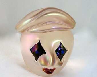 Orient & Flume David Smallhouse Iridescent Art Glass French Mime Paperweight - Free USA Shipping