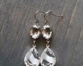 Snow Streak Crystal Earrings, White Ice Drop Jewelry, Clear Crystal Frozen Winter Wonderland
