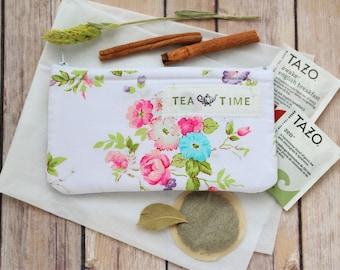 Tea wallet, Travel Tea bag holder, Tea bag wallet, zippered pouch, Tea bag holder, Tea Accessories, Tea Lover gift under 50 by SaidoniaEco