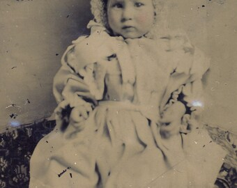 Victorian TODDLER Bundled Up in White with A Wonderful KNITTED BONNET Tintype Photo Circa 1880