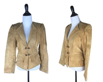 70s Leather Jacket / 1970s Tan Leather Blazer / Vintage Suede Jacket / 80s Fitted Leather Jacket / Tan Suede Winlit Jacket Small S
