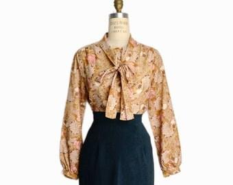 Vintage 70s Floral Tie Neck Blouse in Copper & Rose - women's medium