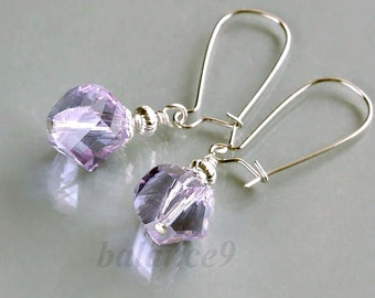 Lavender crystal earrings, Silver kidney drop dangle, bridesmaid gift, wedding jewelry, delicate everyday, by balance9