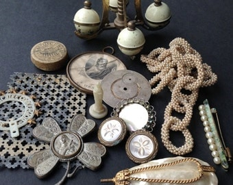 Cream and golden treasures. Precious instant collection of found objects.
