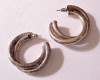 Flower Double Hoops Pierced Post Earrings Silver Tone Twisted Tubes