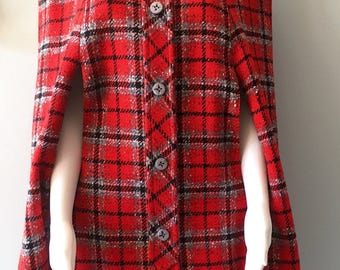 Fabulous 1960's Red  Wool Plaid Pendleton Cape