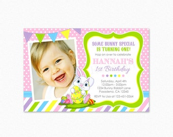 Rabbit Birthday Party Invitation, Bunny Rabbit Birthday Party Invitation, Easter Bunny Birthday Party Invitation, Printable