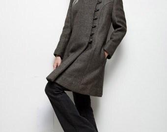 vintage 60s MOD asymmetrical pea coat heather gray wool (SU-1)