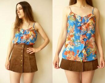 1990's Vintage Oriental Print Ruffle Vest Top Size Medium