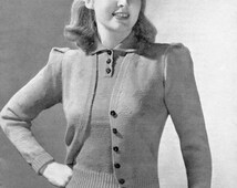 Ladies Diamond Twin Set 32 to 34 Bust Jumper and Cardigan 1940s Vintage Knitting Pattern Patons 129