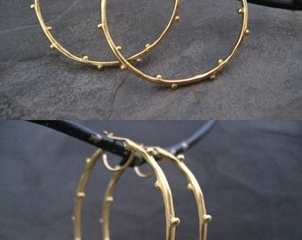 Blossom hoops, dotted hoops, gold hoops, large hoops, handmade earrings, round hoops