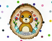 i'd gopher you / original cute kitsch painting on wood slice / pun punny love gift wall decor