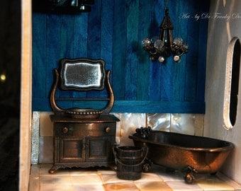 Music Box: WASHROOM! Diorama Fairy House By Fae Factory Artist Dr Franky Dolan (Handmade Miniature Furniture Music Box Dollhouse Bath Room)