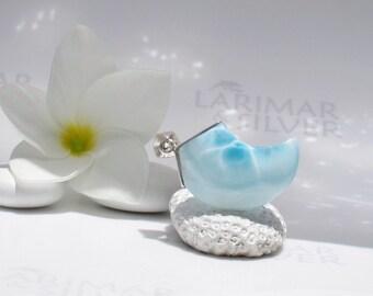 Larimarandsilver pendant, Sea Griffin 4 - crystal blue Larimar claw, turtleback, blue dragon, surf pendant ice blue handmade Larimar pendant